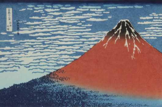 Wood Block Print of Mount Fuji