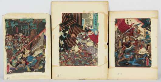 Japanese Triptych of Samurai In Battle
