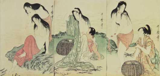Print of Japanese Triptych, originally by Kitagawa Utamaro
