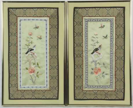 Pair of Chinese Silk Mats