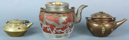 Lot of 3 Chinese and Japanese Teapots