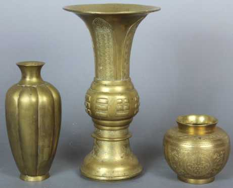 Lot of 3 Chinese Brass Vessels