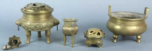 A Lot of 4 Chinese Brass censers