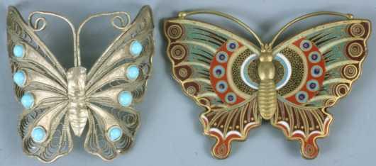 Lot of 2 oriental Butterfly items