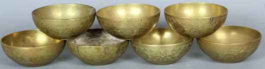 Chinese Brass Rice Bowls