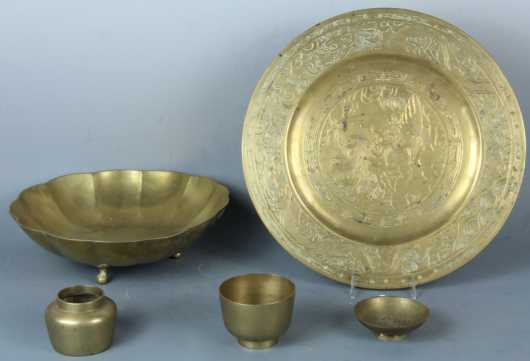 Lot of 5 Chinese Brass items