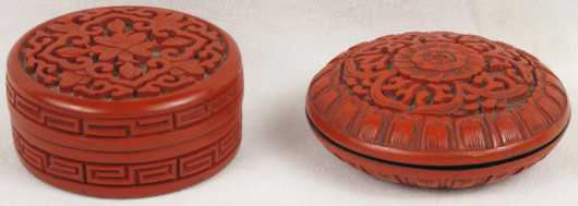 Two Japanese Carved Lacquer Boxes