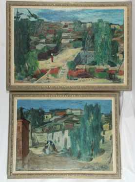 Paintings of hillside village scenes