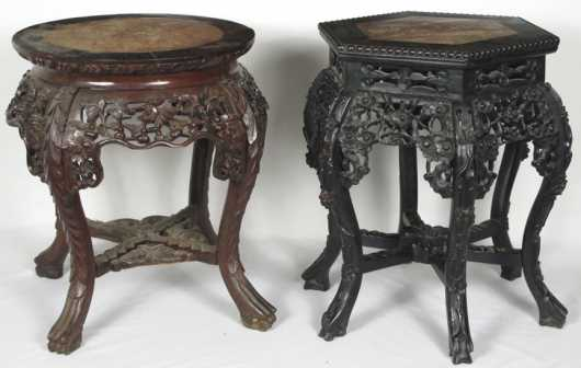 Two Chinese Export Marble Top Stands