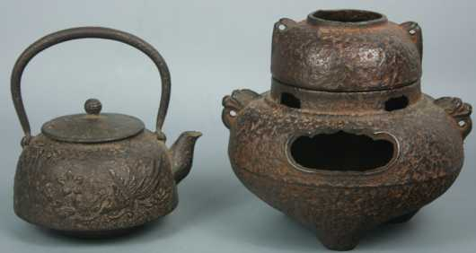 Two Japanese Cast Iron Pots