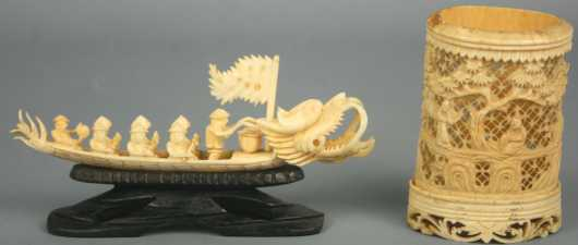 Two Chinese Ivory Carved Pieces