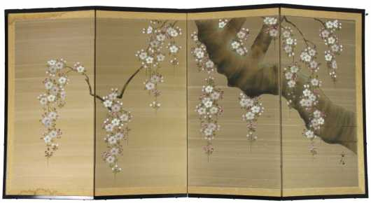 Four Part Chinese Screen painted on silk