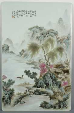 Chinese Hand painted Porcelain Tile, signed Shang Zhi Tang