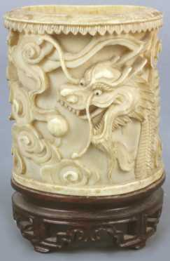 Carved Ivory Brush Pot with relief dragons