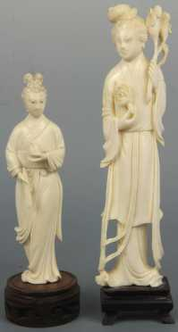Two Chinese Carved Ivory Statuettes