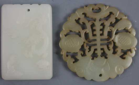 Two Chinese Carved Jade Pendants/Toggles