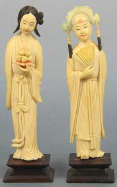 Two Antique Chinese Carved Ivory and Polychrome Figures