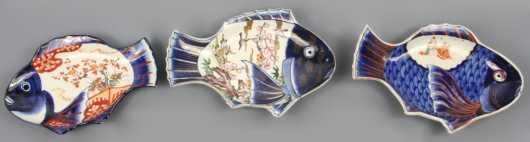 Three Japanese Imari Fish Form Plates