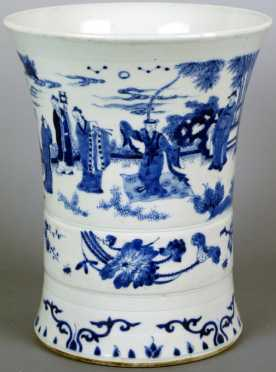 Chinese Blue and White Decorated Transitional Brush Pot