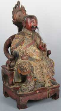 Carved Wooden Statue of a Bearded Nobleman