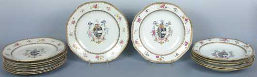 Set of Fourteen Chinese Export Armorial Plates