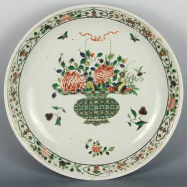 Chinese Porcelain Charger painted in the Famille Verte palette
