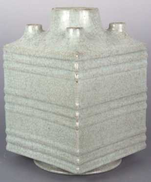 Chinese Guan-Type Five Spout Vase with square form