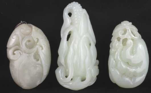 Three Chinese Jade Carvings of plants and fruit