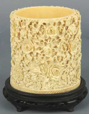 Carved Ivory Brush Pot with relief rosettes