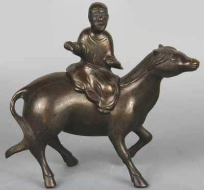 Chinese Bronze Censor in the form of a horse with figural cover of a man riding side saddle