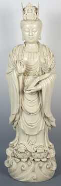 Impressive Chinese Blanc De Chine Porcelain Statue of Kwan Yin