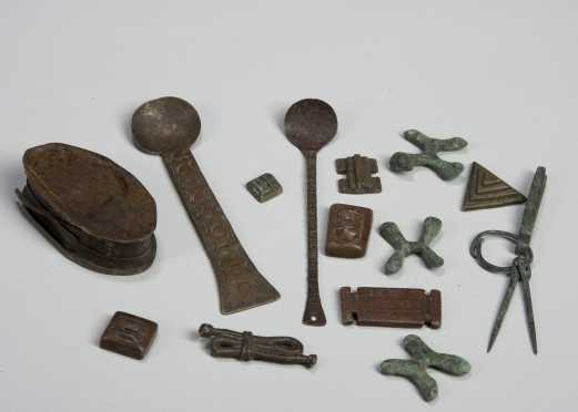 A group of African metal objects