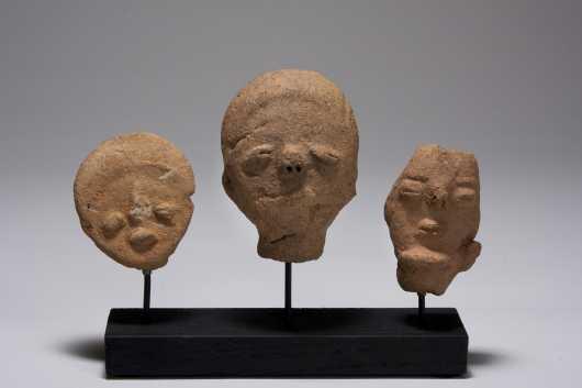 Three Akan terracotta heads