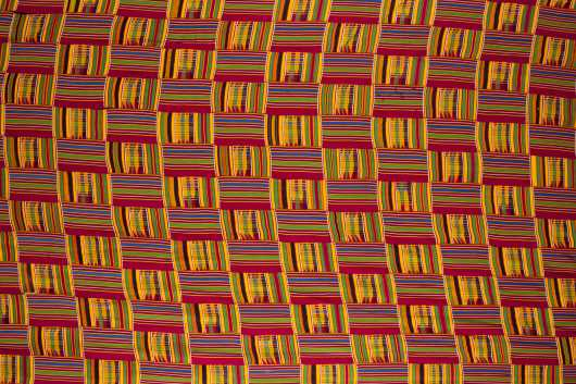 An Ashanti Kente Strip woven textile