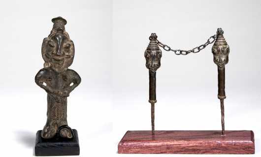 Two Yoruba bronze items