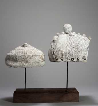 Two fine white Yoruba beaded hats
