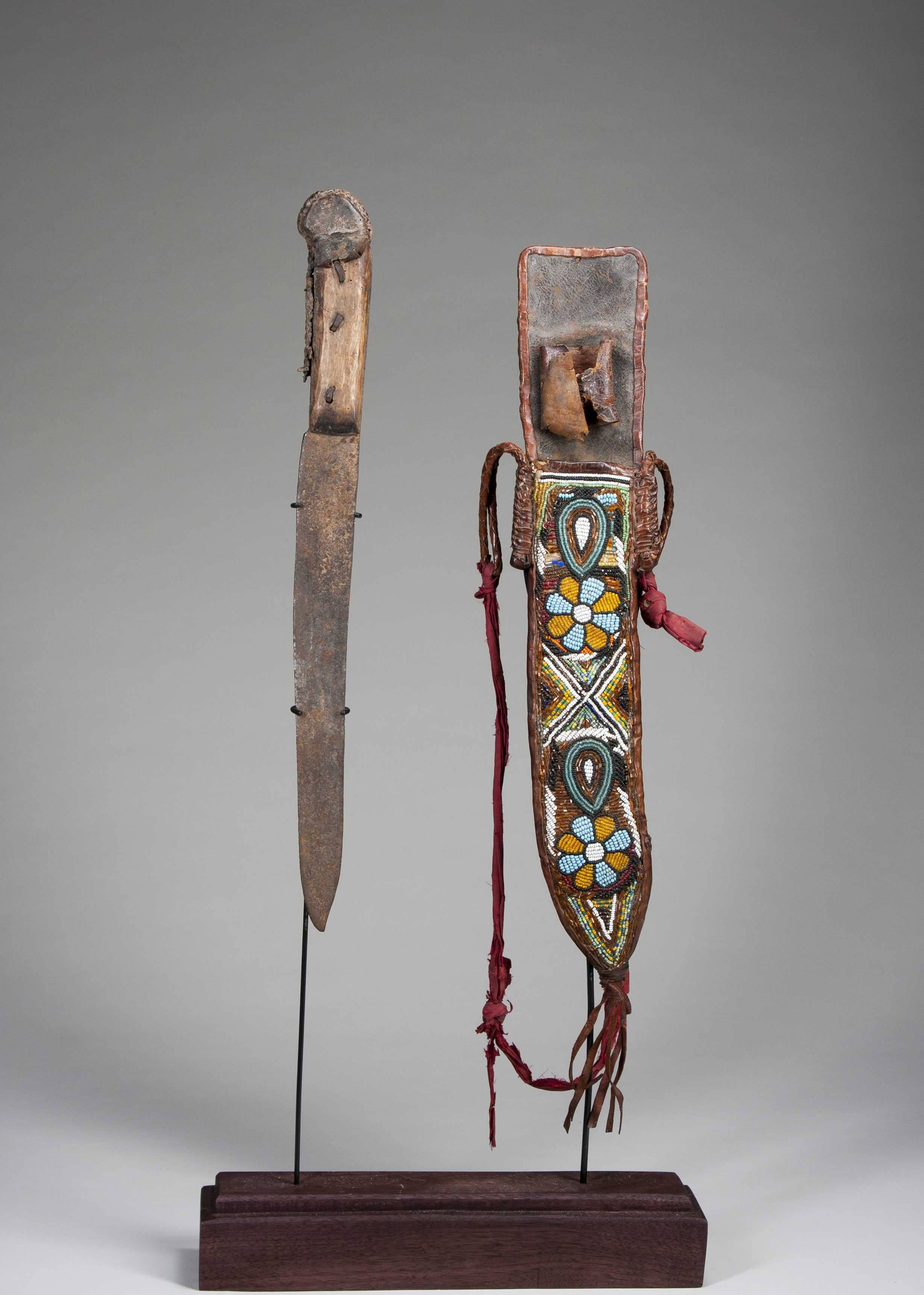 A Yoruba Dagger And Beaded Sheath