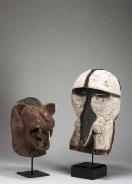 A two Luba animal Kifwebe masks