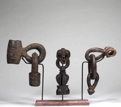 Three Himalayan butterchurn handles