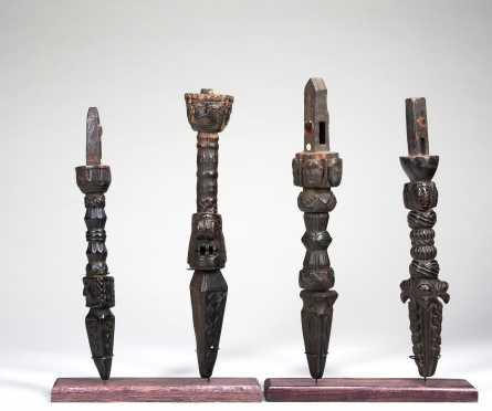 Four Himalayan Shaman's drum handles