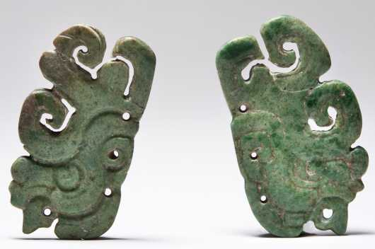 A Superb pair of Mayan Jade plaques representing the jester-god.